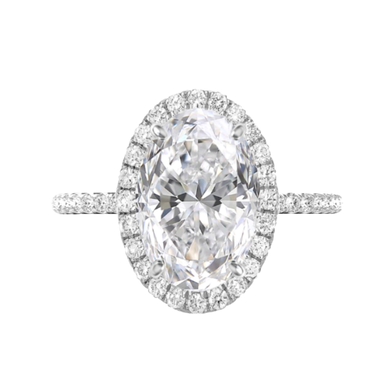 7 Carat Oval Moissanite & Diamond Double Edge Halo Ring