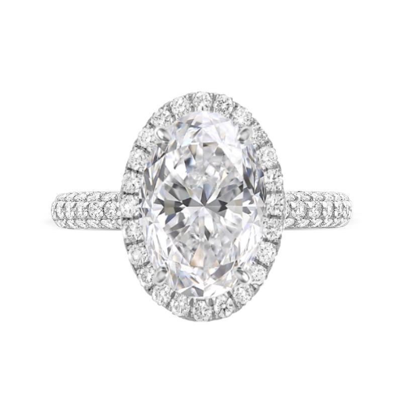 7 Carat Oval Moissanite & Diamond Double Edge Halo Three Row Pave Ring