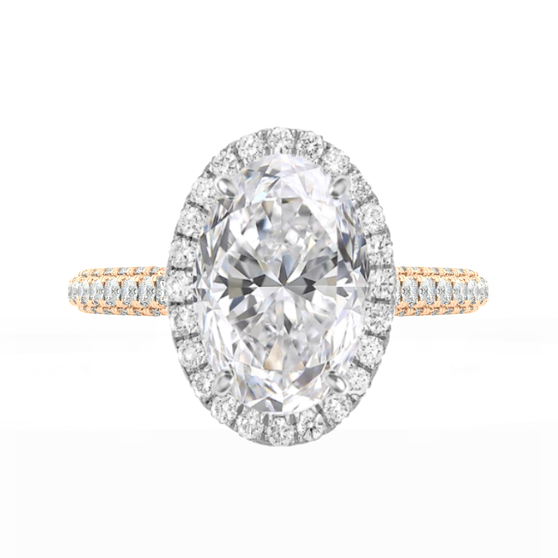 7 Carat Oval Moissanite & Diamond Halo Three Row Pave Ring