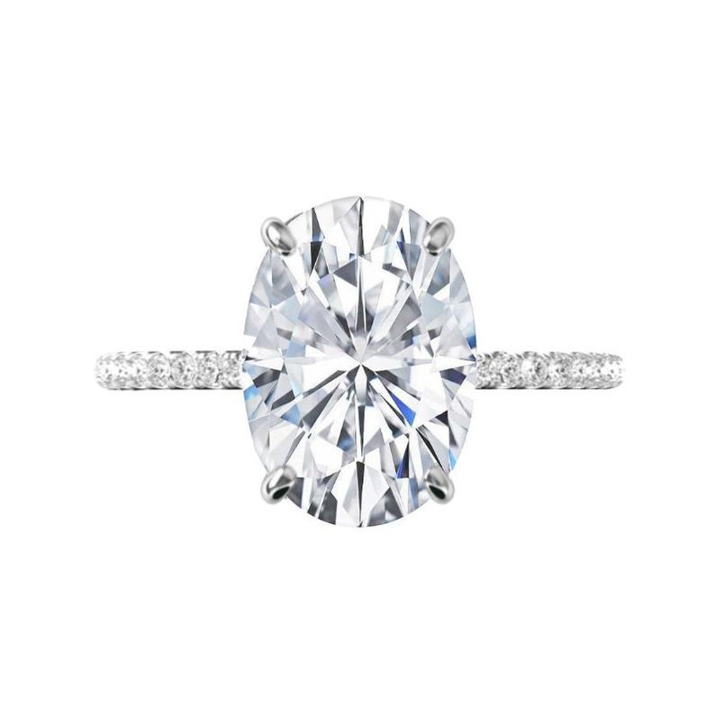 7 Carat Oval Moissanite & Diamond Hidden Halo Ring