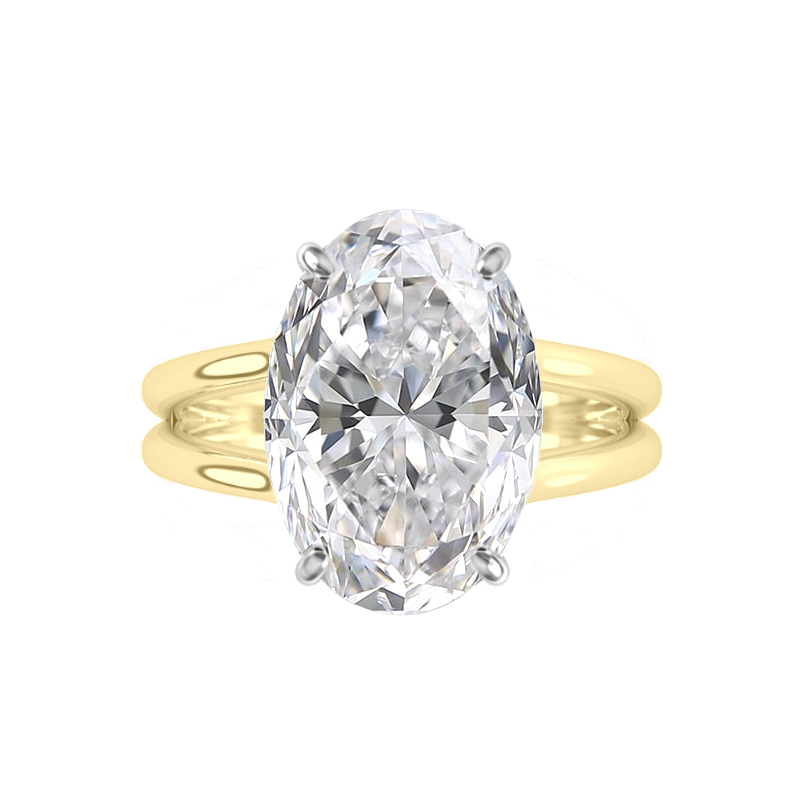 7 Carat Oval Moissanite Split Band Solitaire Ring