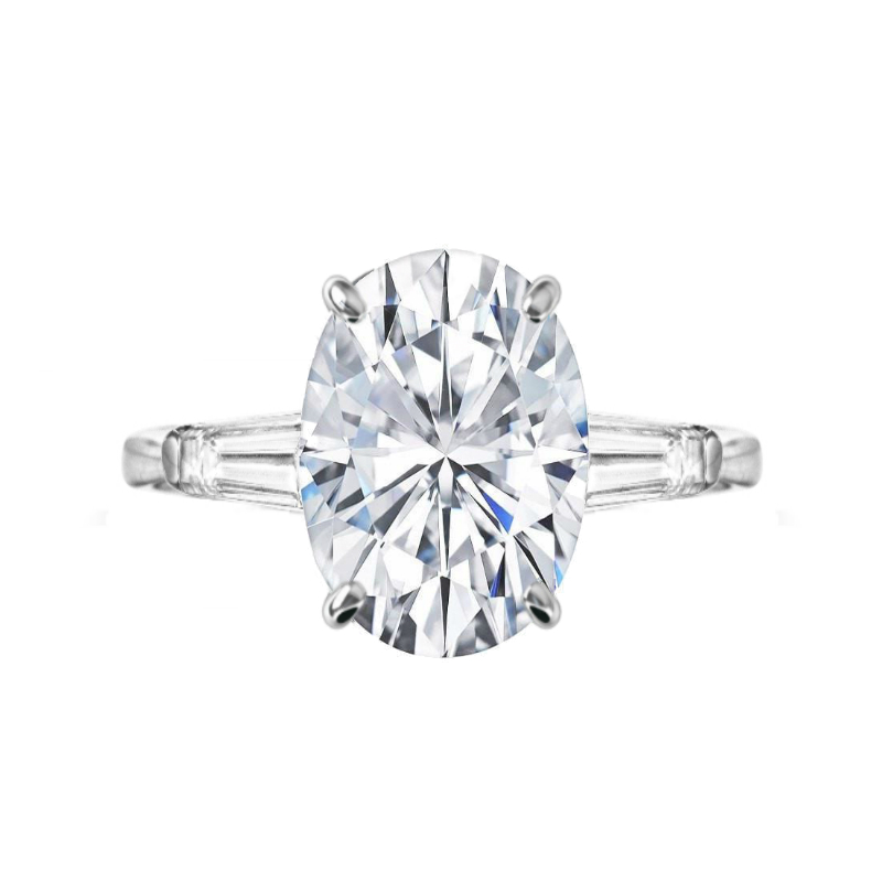7 Carat Oval Moissanite & Diamond Baguette Three Stone Ring