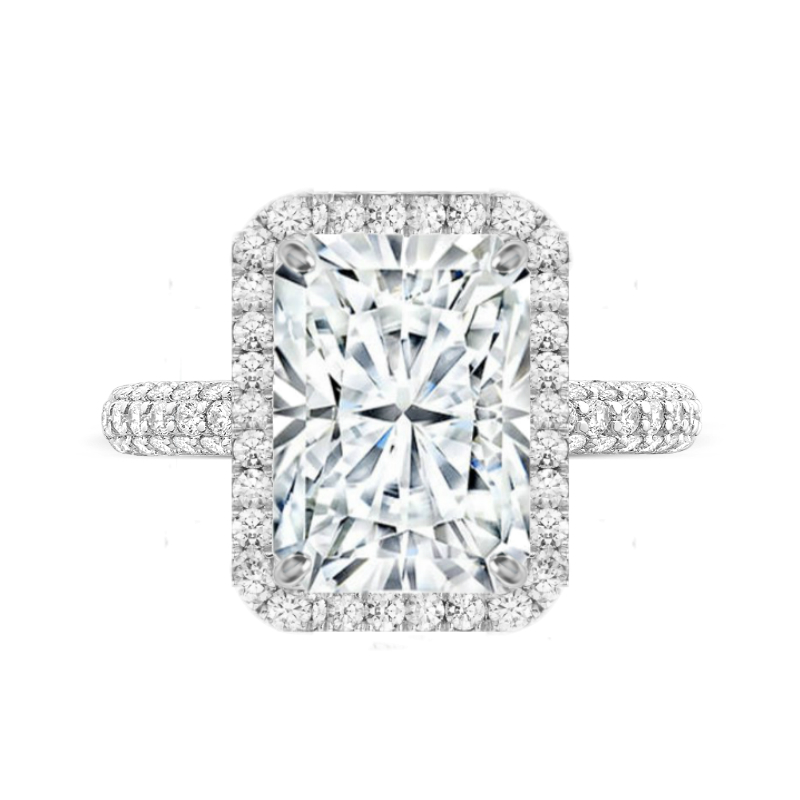7 Carat Radiant Moissanite & Diamond Double Edge Halo Three Row Pave Ring