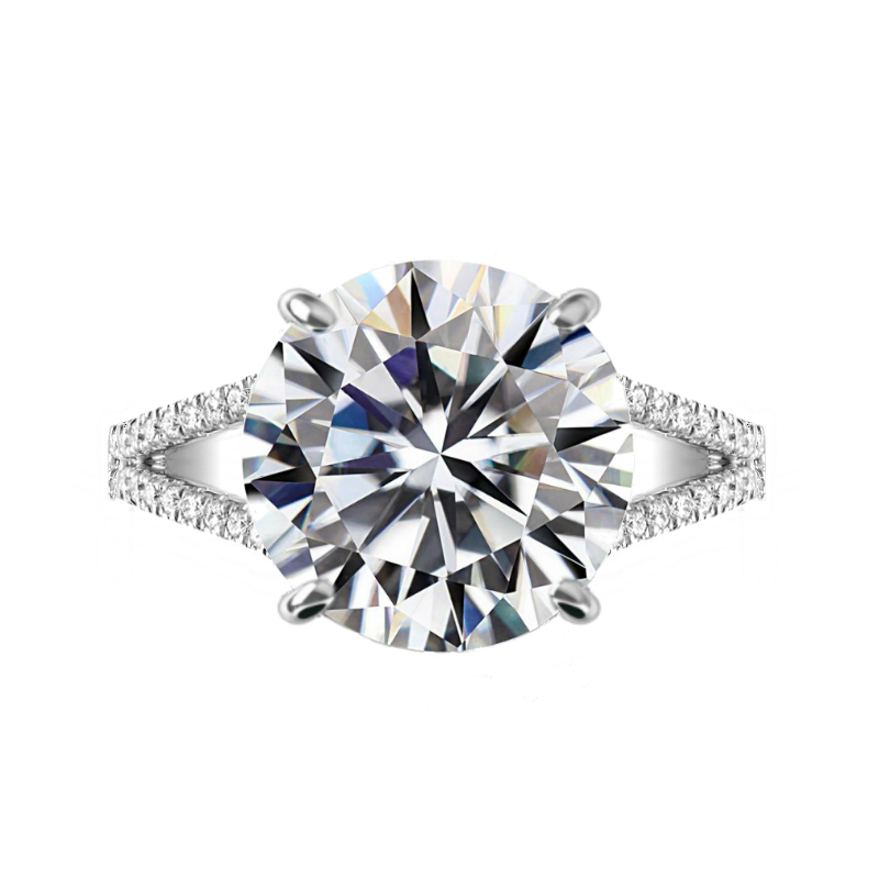 7 Carat Round Moissanite & Diamond Split Shank Ring