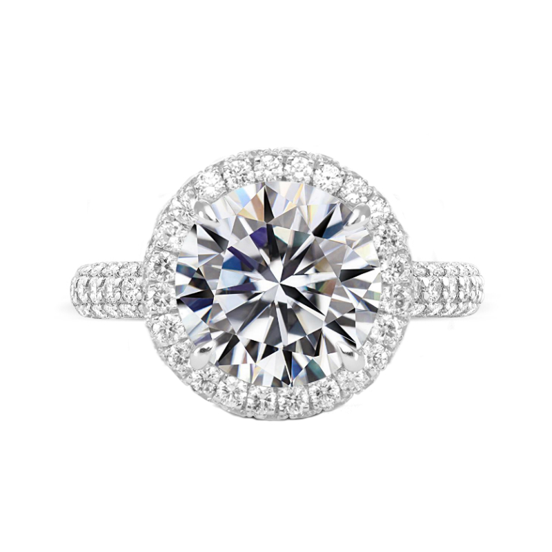 7 Carat Round Moissanite & Diamond Double Edge Halo Three Row Pave Ring
