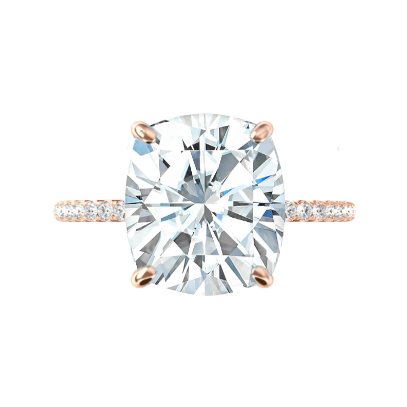 7 Carat Elongated Cushion Moissanite & Diamond Hidden Halo Rose Gold