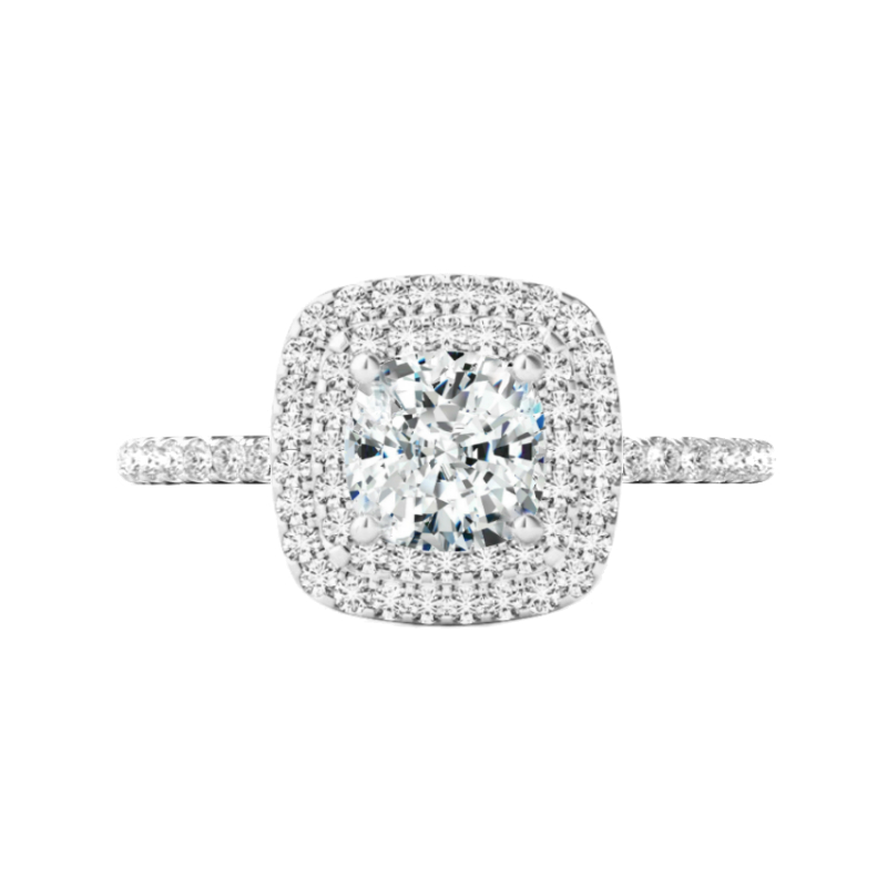 1.50 Carat Cushion Diamond & Double Halo Ring