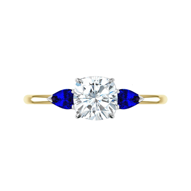 2.20 Carat Cushion Moissanite & Pear Sapphire Three Stone Ring