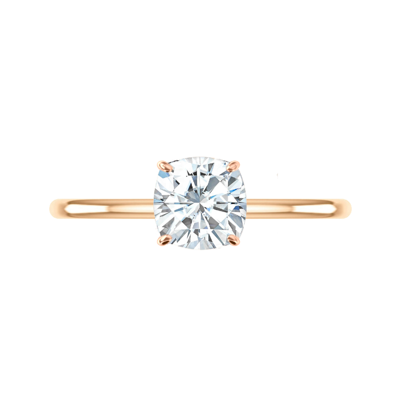 2.20 Carat Cushion Moissanite & Diamond Hidden Halo Solitaire