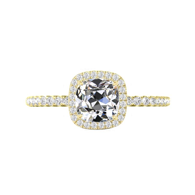 2.20 Carat Old Mine Cut Moissanite & Diamond Halo Ring Yellow Gold