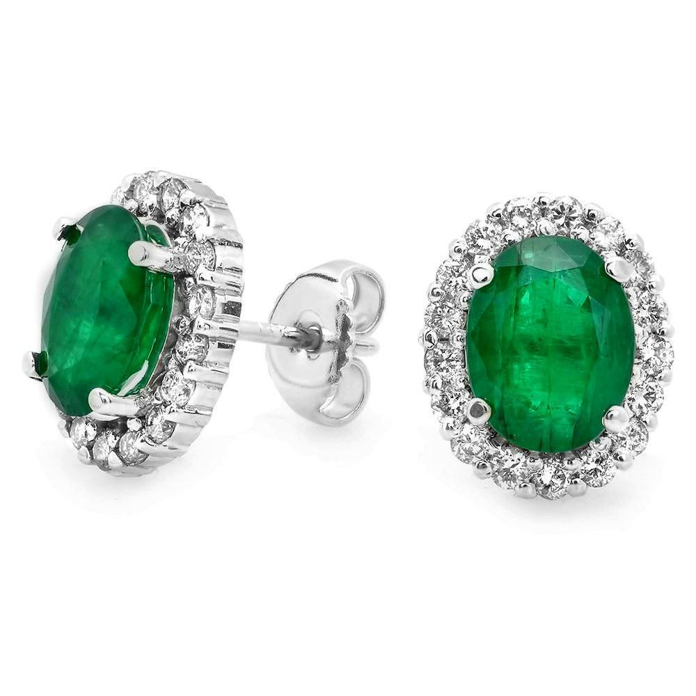 3.10 CT Emerald & Diamond Halo Stud Earrings