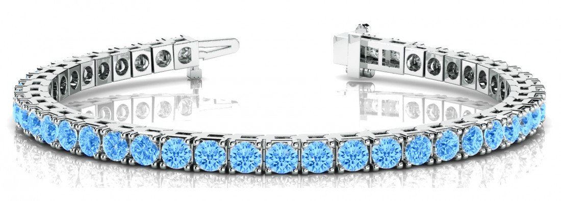 5 Carat Swiss Blue Topaz Tennis Bracelet 14k White Gold