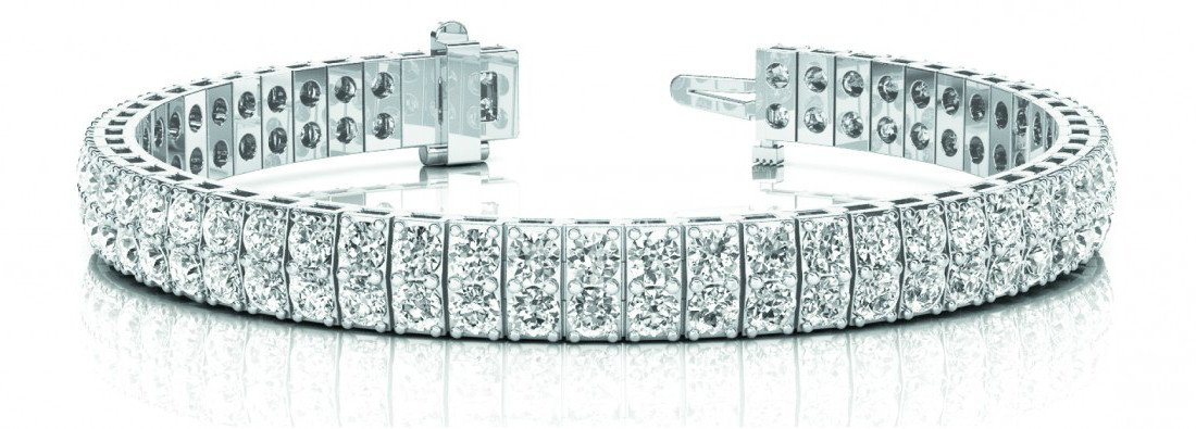 15 Carat Diamond Two Row Tennis Bracelet