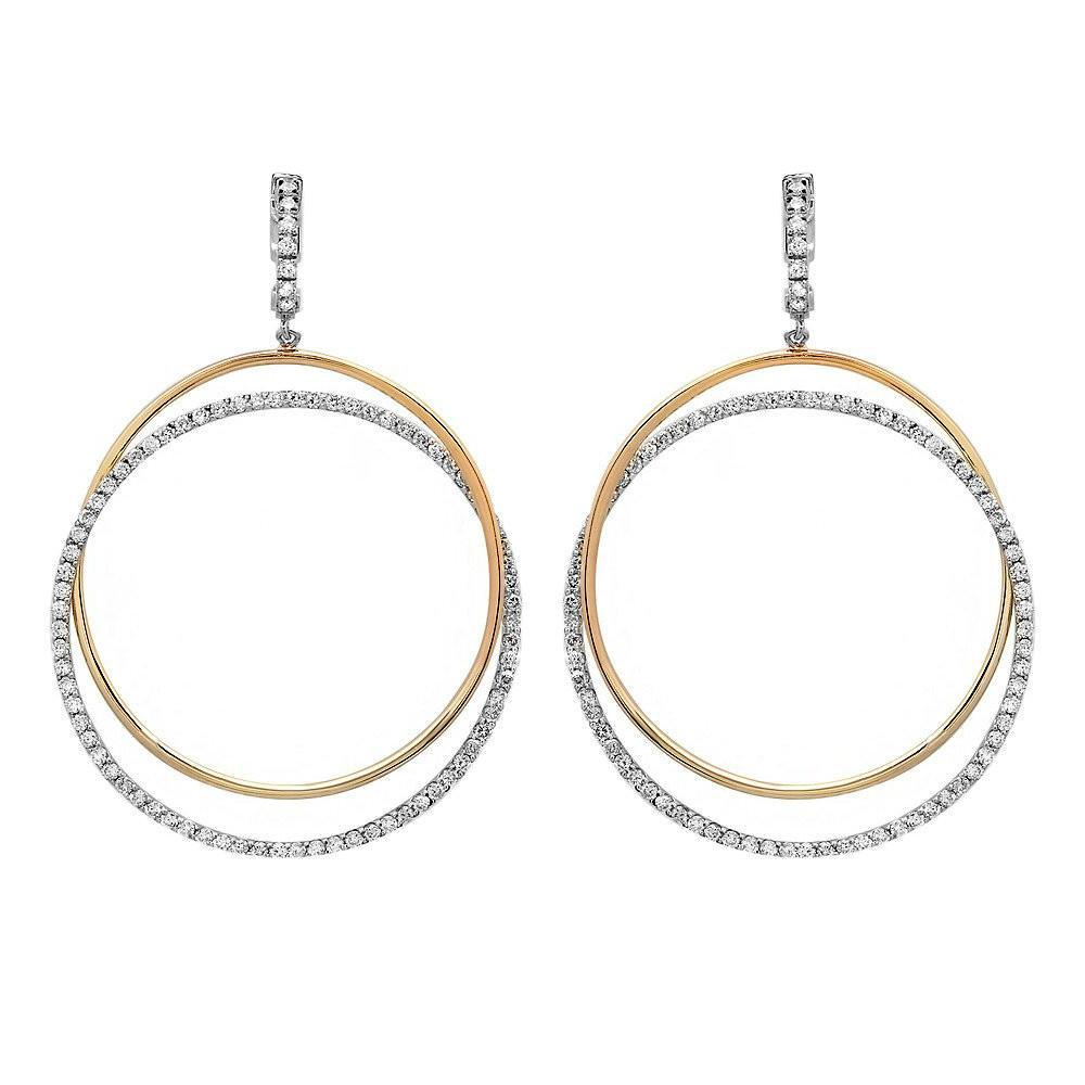 14k Two Tone Diamond Intertwined Dangle Earrings