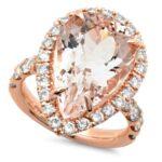 Pear Morganite & Diamond Halo Ring
