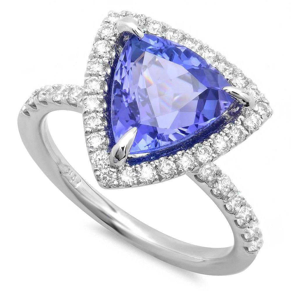 3.50 Carat Trillion Tanzanite & Diamond Ring