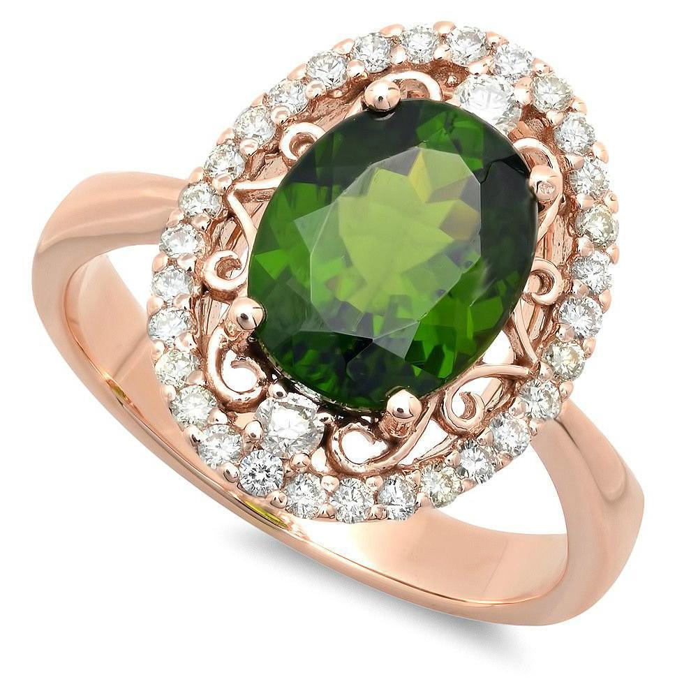 Chrome Diopside & Diamond Halo Ring