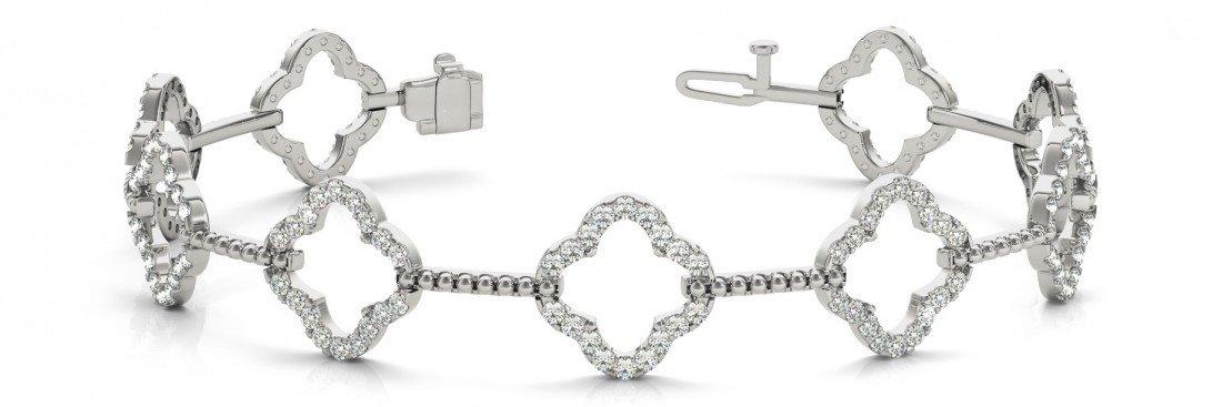 1.62 carat Diamond Clover Bracelet 14k White Gold