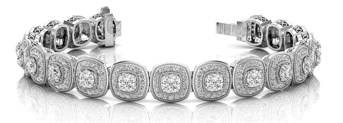 6.50 Carat Round Diamond & Halo Bracelet
