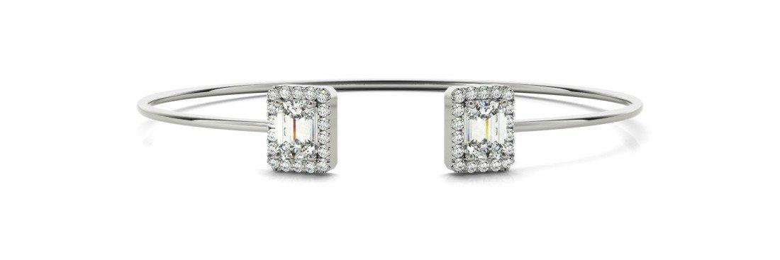 2.00 Carat Emerald Diamond & Halo Bangle