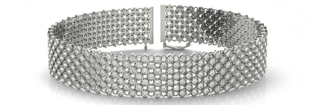 4.15 Carat Diamond Multi Row Bracelet