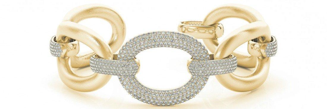 5.25 Carat tw. Diamond Pave Large Link Bracelet 14k Yellow Gold