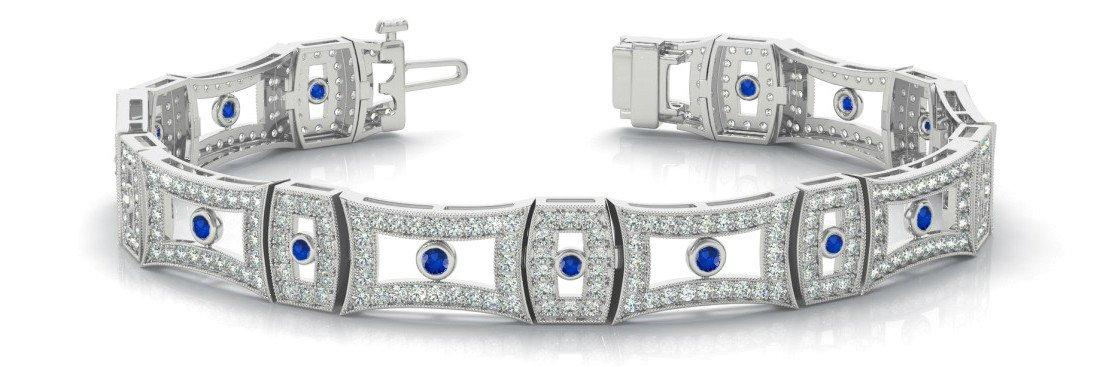 Diamond & Sapphire Vintage Style Bracelet