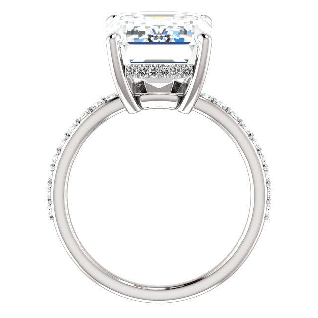 9.30 Carat Radiant Cut Forever One Moissanite & Diamond Hidden Halo Engagement Ring