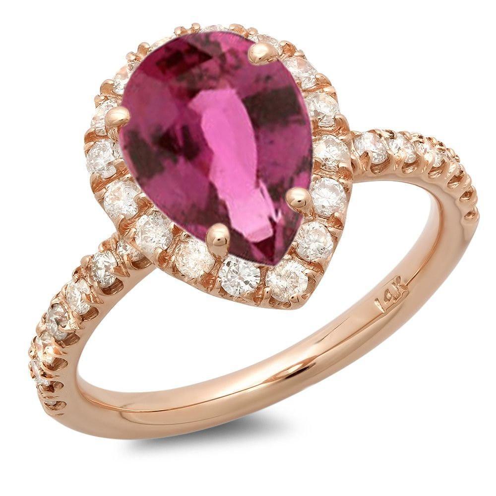2.15 Carat Pear Pink Sapphire & Diamond Ring
