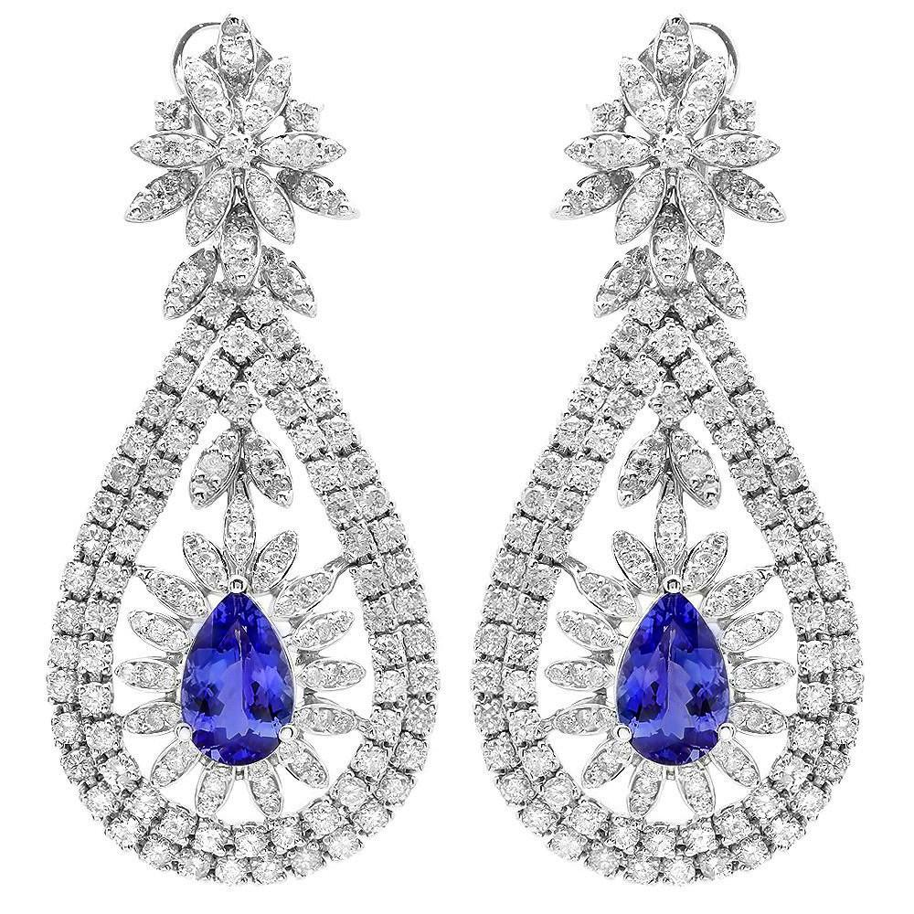 5.40 CT Tanzanite & 7.12 CT Diamond Earrings