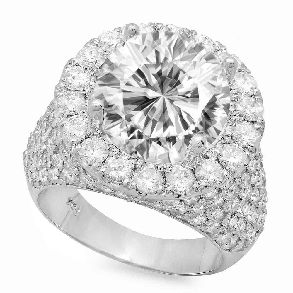 6 Carat Forever One Moissanite & 3.25 Carat Diamond Pave Ring