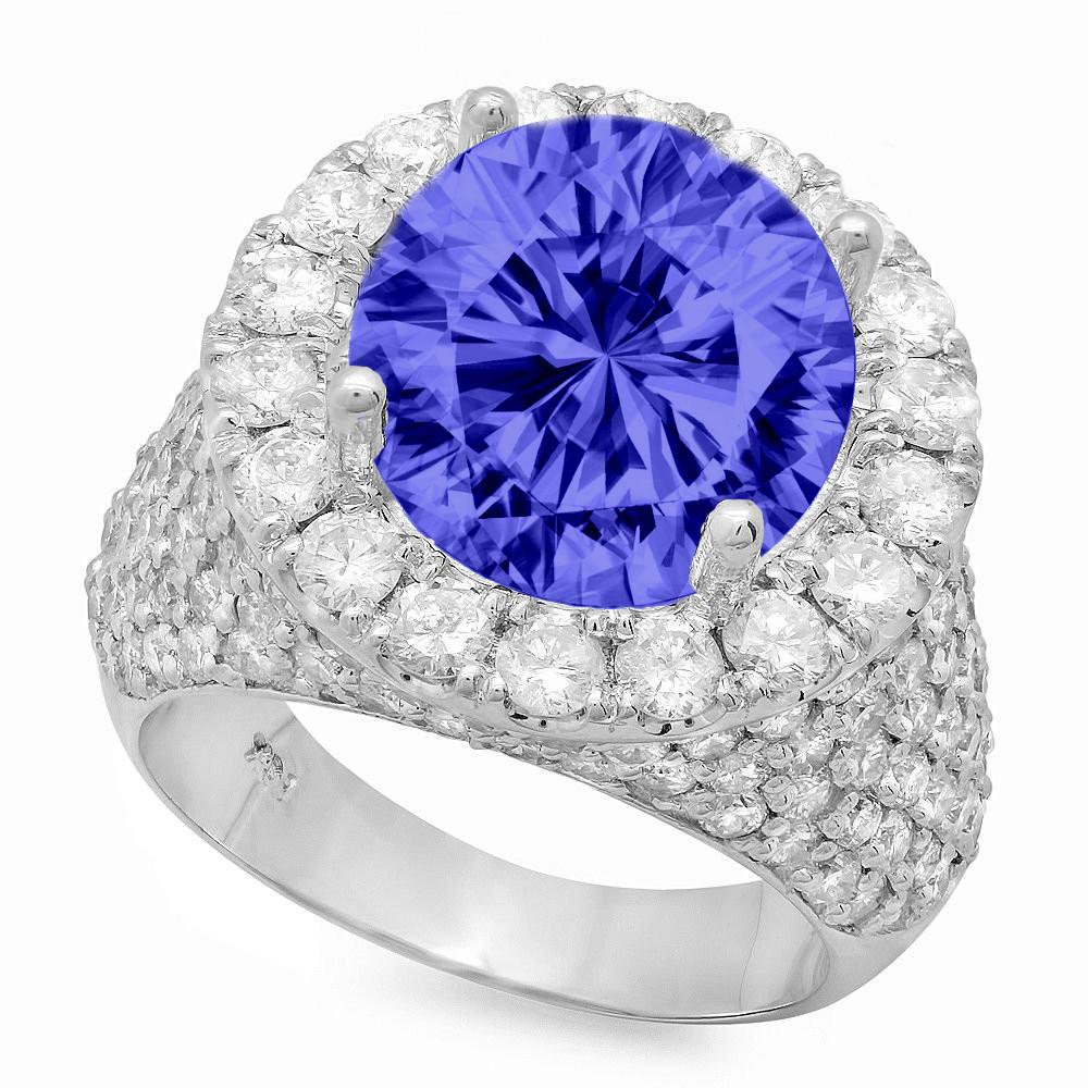 6 Carat Round Tanzanite & 3.25 ct Diamond Pave Ring