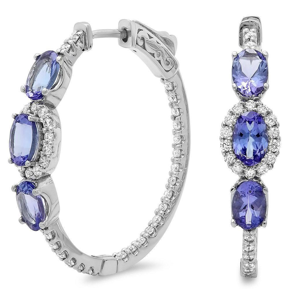Tanzanite & Diamond Hoop Earrings