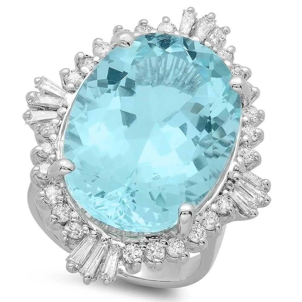20 Carat Oval Aquamarine & Art Deco Inspired Diamond Halo Ring