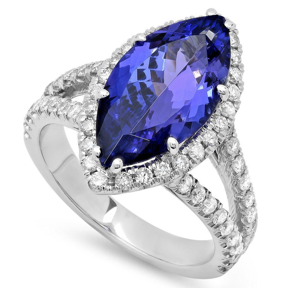 4.50 Carat Tanzanite & Diamond Split Shank Ring