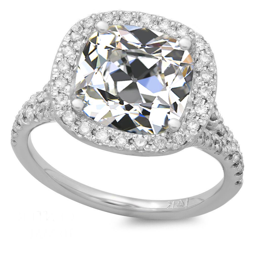 5.00 Carat Antique Cushion Moissanite & Diamond Halo Split Shank Ring