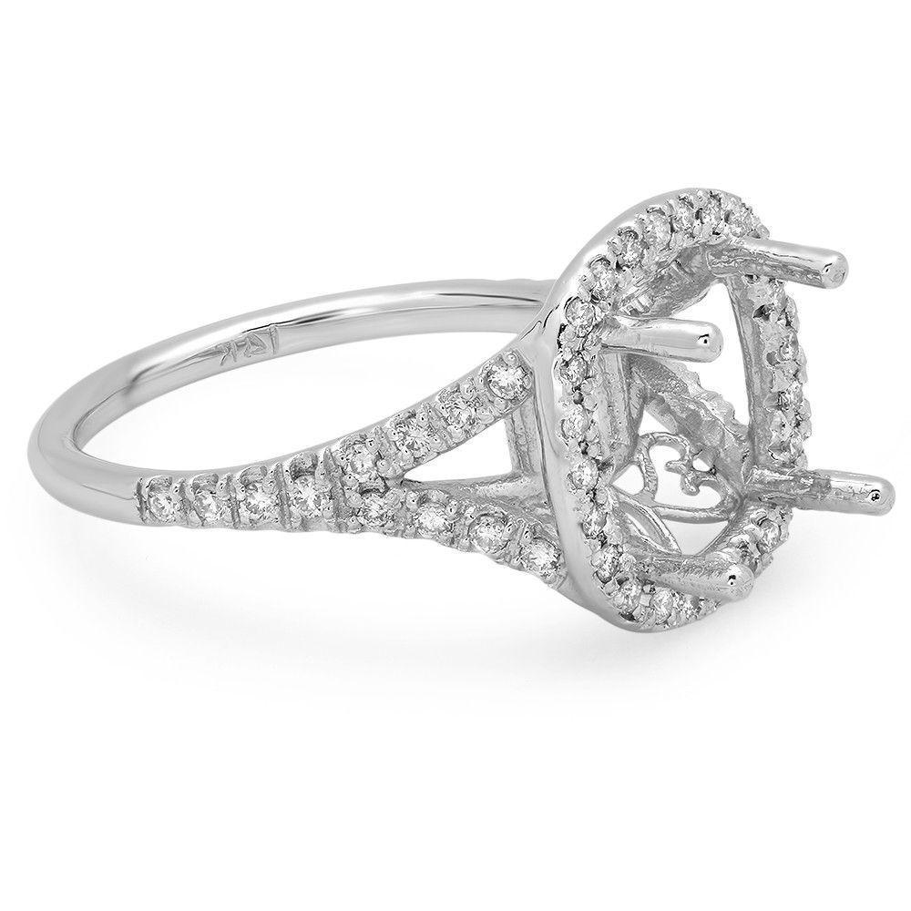 5.00 Carat Antique Cushion Moissanite & Diamond Halo Split Shank Ring