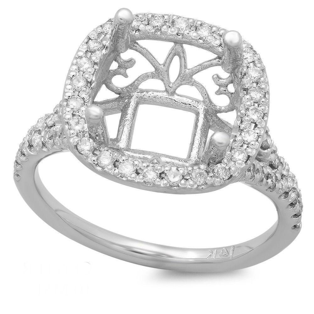 5.00 Carat Cushion Forever One Moissanite & Diamond Halo Split Shank Ring