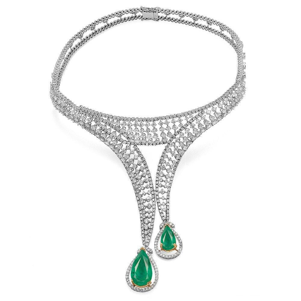 18 CT Emerald & 21 CT Diamond Statement Necklace