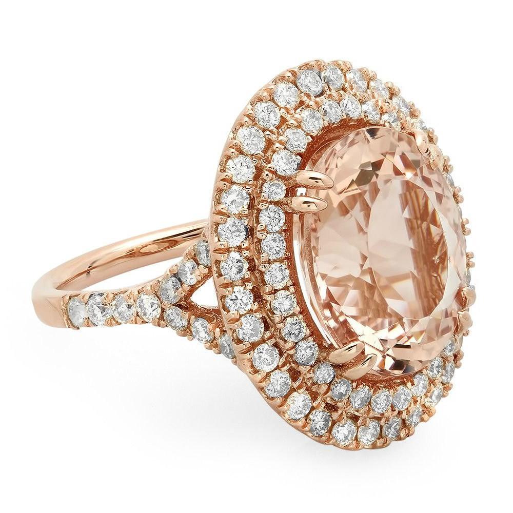 8 Carat Morganite & Diamond Double Halo Ring