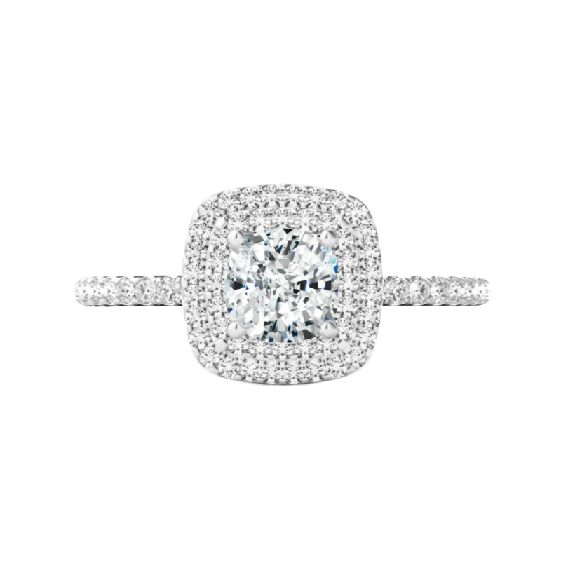 1 Carat Cushion Lab Grown Diamond & Double Halo Ring