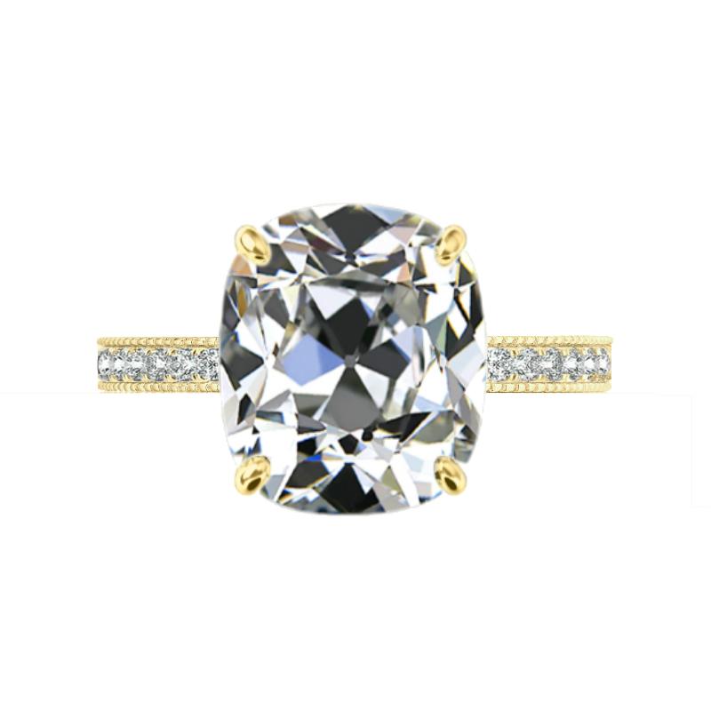 8 ct Antique Cushion Moissanite & Diamond Bright Cut Pave Ring