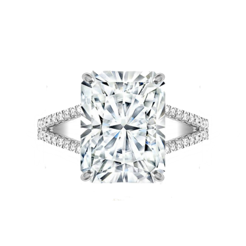 8 Carat Radiant Moissanite & Diamond Split Shank Ring