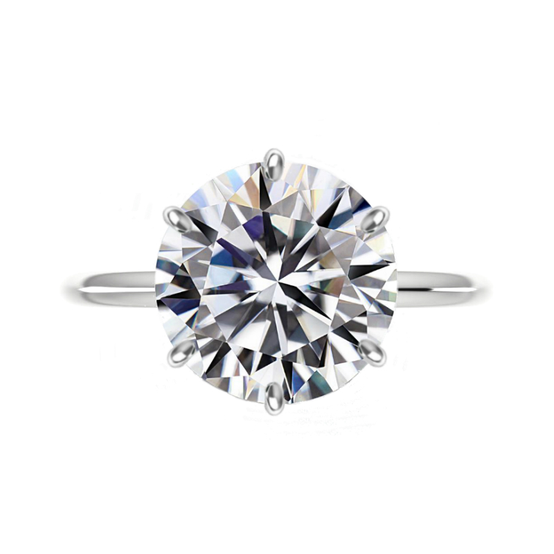 8 Carat Round Moissanite Classic Six Prong Knife Edge Solitaire