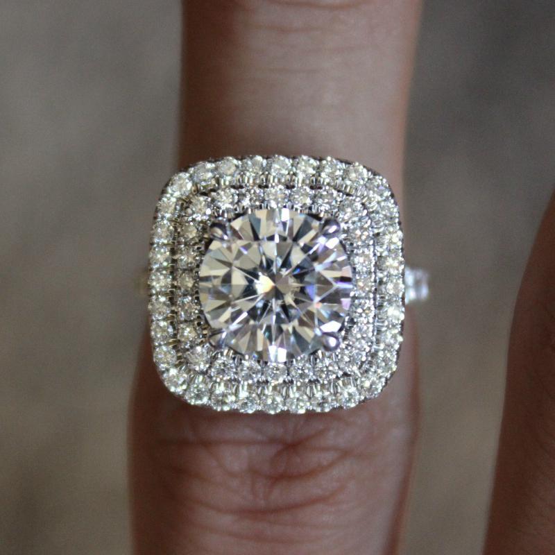 2.50 Carat (8.5mm) Forever ONE Moissanite & Diamond Double Halo Engagement Ring