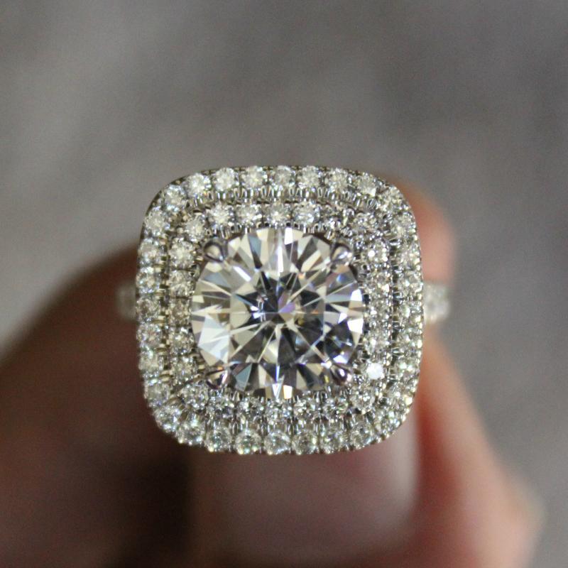 2.50 Carat Round Diamond & Double Halo Split Shank Ring