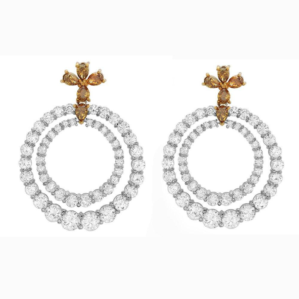 7.70 Carat Diamond Graduated Circle Earrings