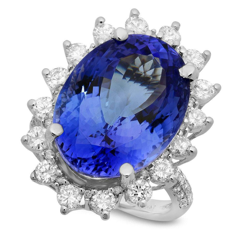 18.80 Carat Oval Tanzanite & Diamond Ring