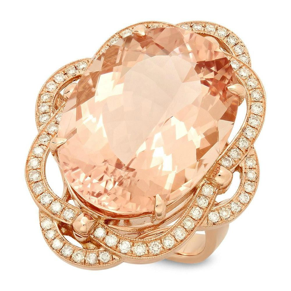 21.00 Carat Oval Morganite & Diamond Cocktail Ring