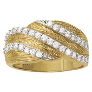 Diamond Fashion Textured Ring 14k Yellow Gold